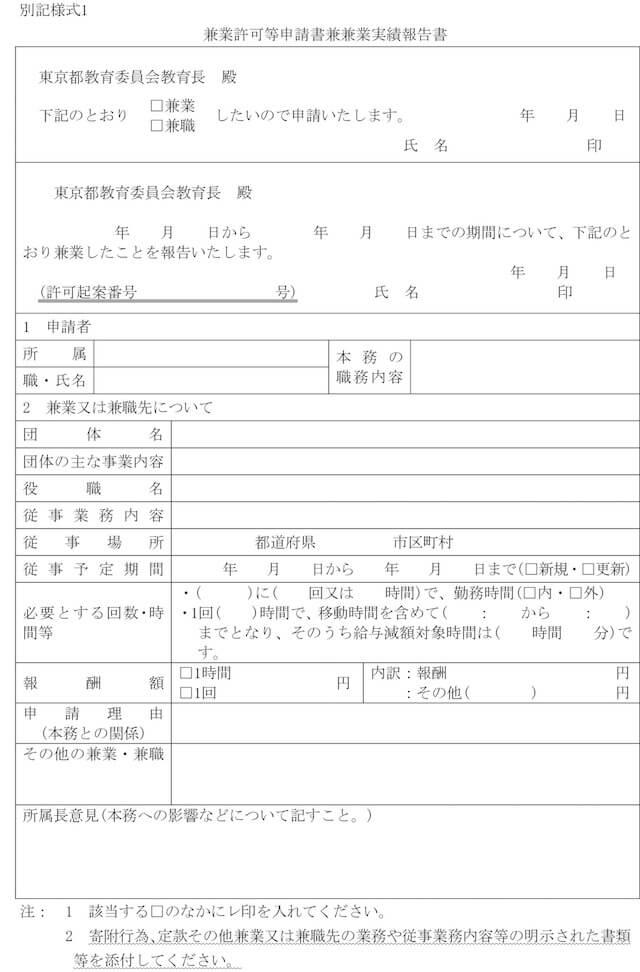 兼業許可等申請兼兼業実績報告書